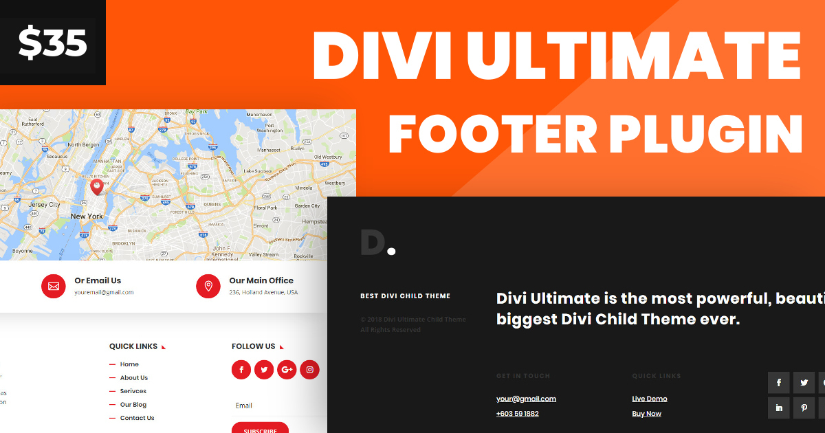 Divi Ultimate Footer Plugin | Design Divi Custom Footer Globally